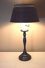 Vintage Mid Century Slender Black Metal Tole Desk/Reading Lamp w/Gold Accents