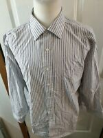 Donald J Trump Signature Collection Gray Striped Dress Shirt Size 18-34/35