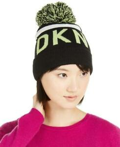 DKNY Stadium Black/Green Logo Stripe Pom Pom Beanie
