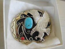 BELT BUCKLE EAGLE 1-TURQUOISE 1-CORAL SOUTHWEST T-20 MADE IN USA VINTAGE #1