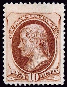 US Sc# 161 *UNUSED VLH* { JUMBO -XF- 10c JEFFERSON } BEAUTY FROM 1873 CV$ 350.00