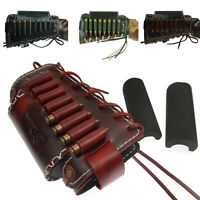 Leather Shooting Gun Buttstock with Cheek Rest fits Rifle Ammo Shell Holder UK