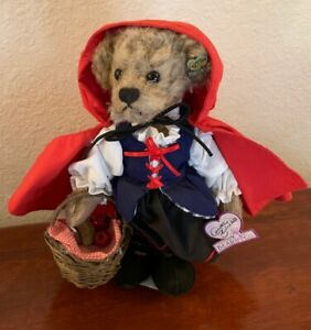 Little Red Riding Hood teddy bear by Annette Funicello with box, stand, tags COA