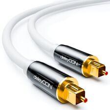 Toslink HQ deleyCON 10m - Optisches Audiokabel mit Metallstecker 5mm - Weiß