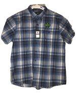 G.H.Bass & Co Men's Blue Plaid Button Down Short Sleeve Casual Shirt Size XXL