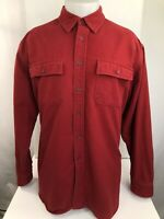 L.L. BEAN - Heavy Duty Mens XL CHAMOIS Red Flannel Outdoor Hiking Camping Shirt