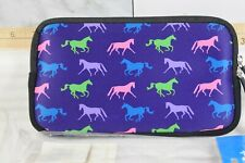 Tek Trek Neoprene Zipper Bag with Galloping Horses Graphic - Purple