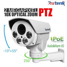 Rsrteng 2MP 10X Zoom PTZ IP Security Camera H.265 POE IR P2P Audio Alarm 1080 TF