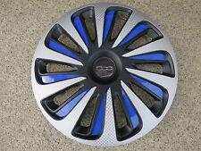 4 Alu-Design Radkappen Caliber silber/schwarz/blau in 14 Zoll für Fiat 500