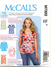 MCCALL'S SEWING PATTERN 7322 MISSES SZ 16-26 EASY PULLOVER TOPS IN PLUS SIZES