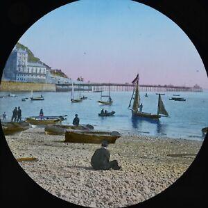 c1890s Magic Lantern Slide Photo Coloured North Wales Llandudno Beach & Pier