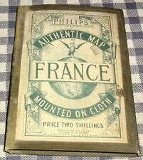 Circa 1900 Philip's Pocket Authentic Shilling Map of France,Linen Cloth,Railways