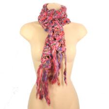 Ladies girls Knitted Scarf Purple Pink Red Long Fringe Tassels