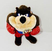 "Vintage Tasmanian Devil Taz Boxer w Tag -  Looney Tunes Character Plush 13"""