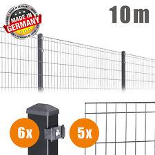 10m Komplett Set Doppelstabmatten Draht Zaun Einzelstabmatten Zaunset ANTHRAZIT
