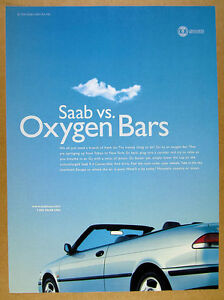 1999 Saab 9-3 Convertible blue car photo vintage print Ad