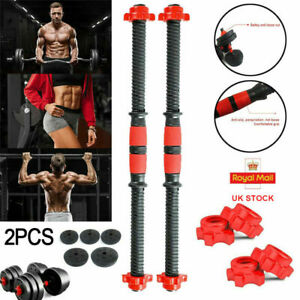 2x Dumbbell Bars Spinlock Collars Weight Lifting Gym Dumbell Bar Handles Fitness