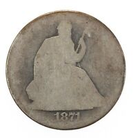 Raw 1871-S Seated Liberty 50C Circulated US Mint Silver Half Dollar Coin