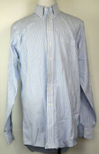 Stafford Blue Striped Oxford Button-Front Long Sleeve Dress Shirt 16 1/2 X-Tall