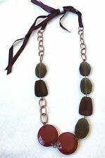 GAP Jewelry Long Chunky Stone Necklace Dark Red Purple Taupe Copper $29 NEW NWT