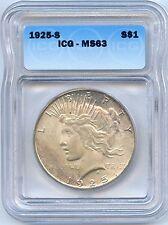 1925 S Peace Silver Dollar. ICG Graded MS 63. Lot #2227