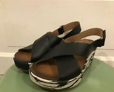 NWOT Women's Clarks Black Leather Cross Strap 2.5 in Wedge Heels Size 6.5