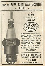 Y2884 Candele WAY-ASSAUTO - Asti - Pubblicità del 1923 - Old advertising