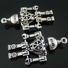 5pcs Vintage Silver Robot Mechanic Shaped Alloy Pendants Charms Findings 51907