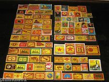 India 100 Different Match Box Labels Elephant Bird Lion Monkey Ship Rose Tiger