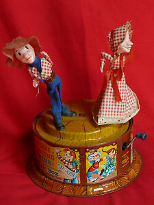 Original Mattel Tin Type SQUARE DANCING TWINS & MUSIC BOX Design BOB RUTLEDGE