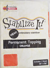 STABALIZE IT EMBROIDERY STABALIZER.  PERMANENT TOPPING ORANGE 1YD ADS-PT12