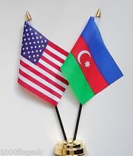 United States of America & Azerbaijan Double Friendship Table Flags Set