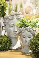 Pflanzbüste klein Frauen Kopf zum Pflanzen Keramik creme weiss Shabby Vintage