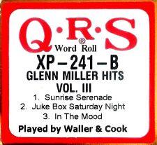 "QRS Word GLENN MILLER HITS VOL.3 ""Fats"" Waller-Cook XP-241-B Player Piano Roll"