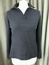 Merino Silk Cashmere Charcoal Grey Jumper Collar by Longhin Made in Italy - S