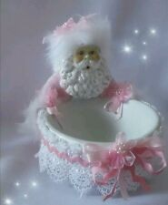 SHABBY CHIC PINK CHRISTMAS SANTA HOLDING A CANDY BOWL Trinket Dish GLITTER FUR