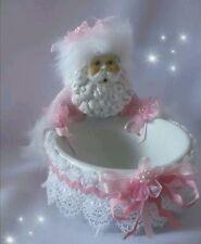 SHABBY CHIC PINK CHRISTMAS SANTA HOLDING A CANDY BOWL Trinket Dish GLITTER FUR