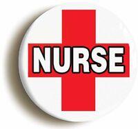 NURSE RED CROSS BADGE BUTTON PIN (1inch/25mm diam) HOSPITAL FANCY DRESS DOCTOR