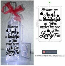 To have an Aunt as Wonderful as You Bottle Sticker - Light up bottle sticker DIY