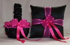 BLACK SATIN / FUCHSIA TRIM FLOWER GIRL BASKET & RING BEARER PILLOW # 1