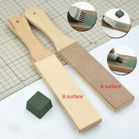 Wooden Dual Sided Leather Blade Strop Razor Sharpener & Polishing Compounds