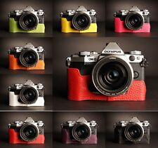 Genuine Real Leather Half Camera Case Bag for Olympus OMD EM5 EM5 II 8 Colors
