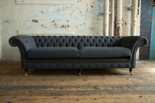 HANDMADE 4 SEATER DARK CHARCOAL GREY WOOL CUSHIONED CHESTERFIELD SOFA COUCH
