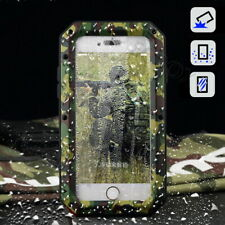 Premium Camo Metal Bumper Shockproof Case Cover + Tempered Glass For iPhone