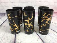 """MCM 6 Black Gold African Dancer Glasses Tumblers - 5.5"""" T / Vintage Barware Set"""