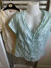 Two Lovely Pale Green/Pale Yellow Blouses (Size 14)
