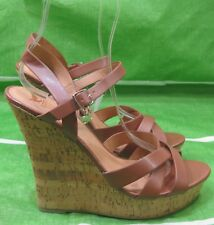 "NEW LADIES Tan 5.5""High Wedge Heel 1.5""Platform  PEEP Toe  Sexy Shoes Size 10"