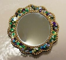 Multi-Colored Small Beaded Purse Mirror With Pouch!