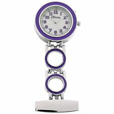The Olivia Collection Backlight White Dial Purple Nurses Fob Watch TOC51
