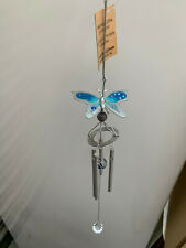 Lovely Little Blue Butterfly Silver Wind Chimes - Nice Gift!
